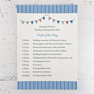 beach hut order of events card