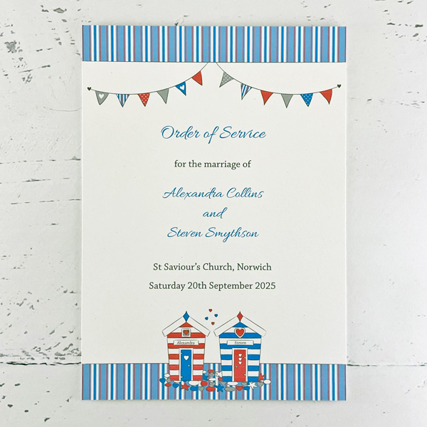 Wedding Order Of Service.Beach Hut Wedding Order Of Service Or Events