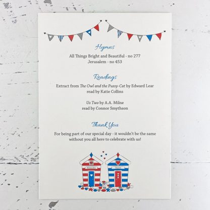 beach hut wedding programme