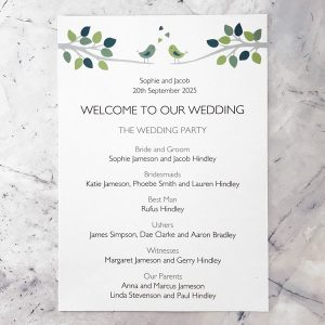 bird wedding programme