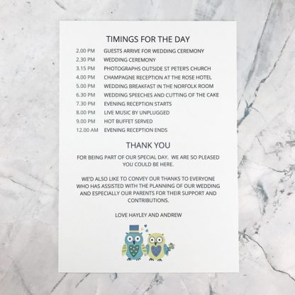 owl order for the day card