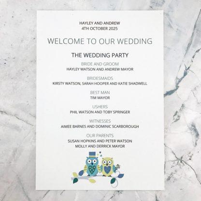 owl wedding programme