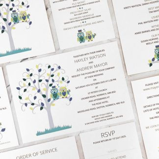 Owl wedding stationery