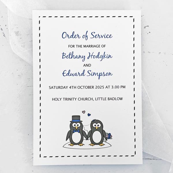 Wedding Order Of Service.Penguin Wedding Order Of Service Or Programme