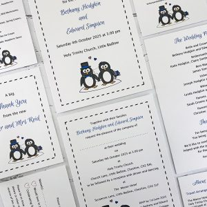 Penguin wedding stationery