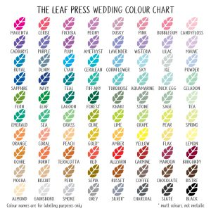 wedding stationery colours