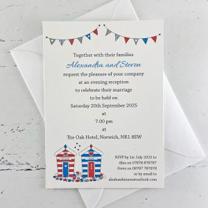 beach hut seaside wedding invitation