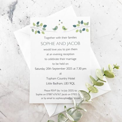 bird evening wedding invitation