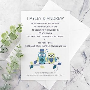 owl evening celebration wedding invitation