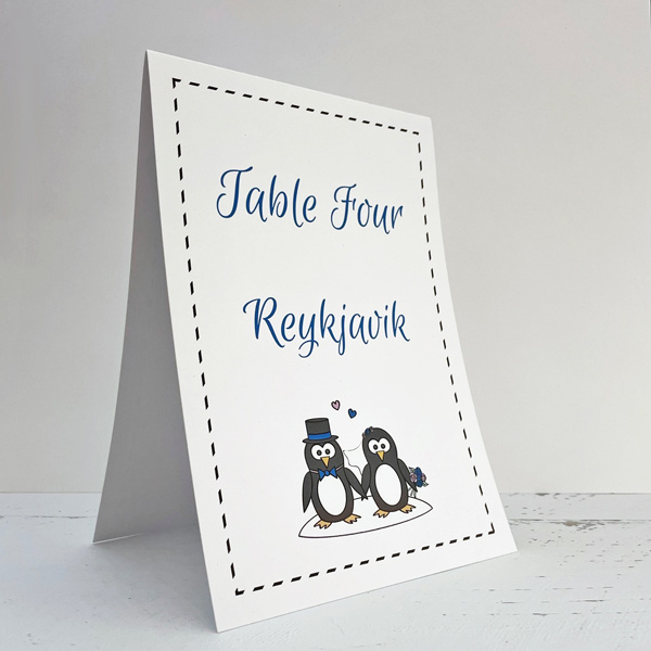 penguin design table numbers for weddings