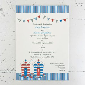 beach hut design wedding invitations
