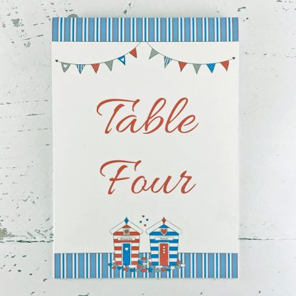 beach hut design wedding table name