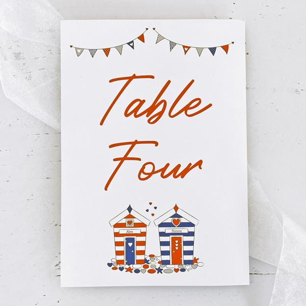 beach hut design wedding table name