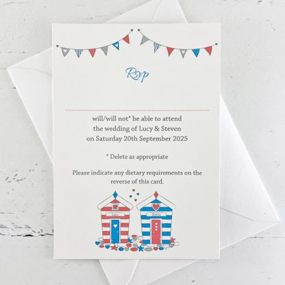 beach hut invitations with rsvp cards