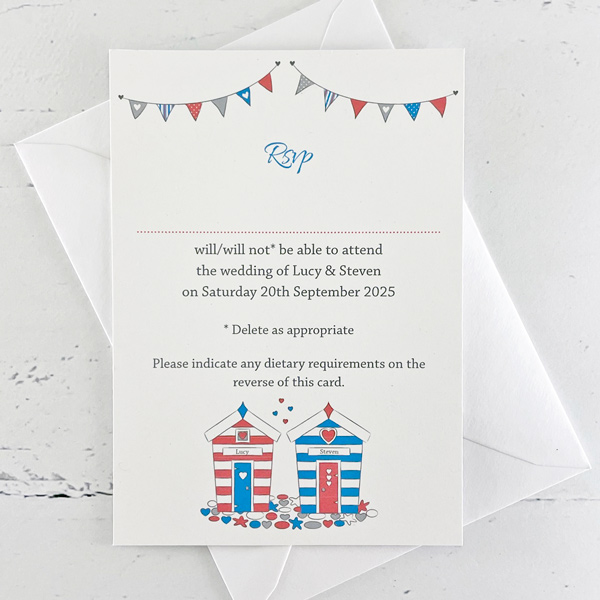 beach hut wedding invitation with rsvp the leaf press