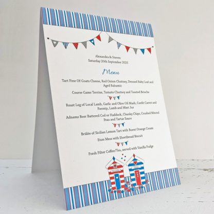 beach huts wedding menu