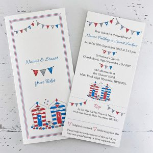 beach hut ticket wedding invitation