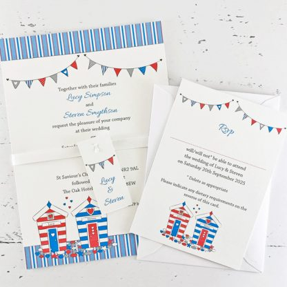 beach hut wedding invitation with rsvp