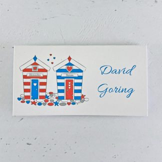 beach hut wedding place card