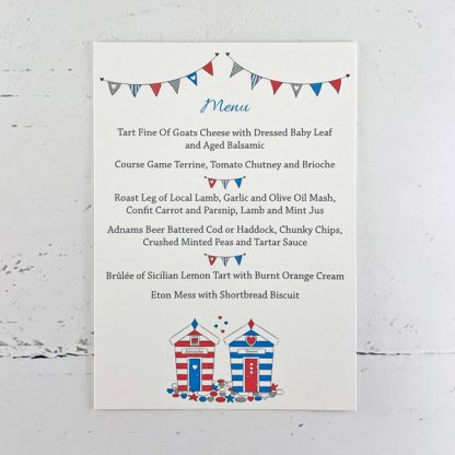 beach hut wedding reception menu