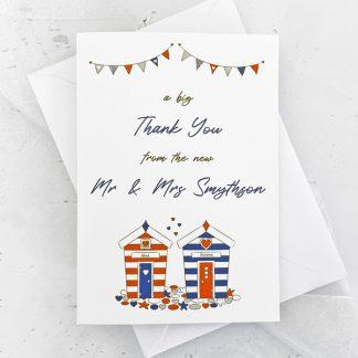 beach hut wedding thank you card