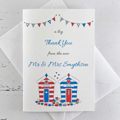 beach hut wedding thank you card