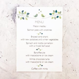 bird design wedding menu card