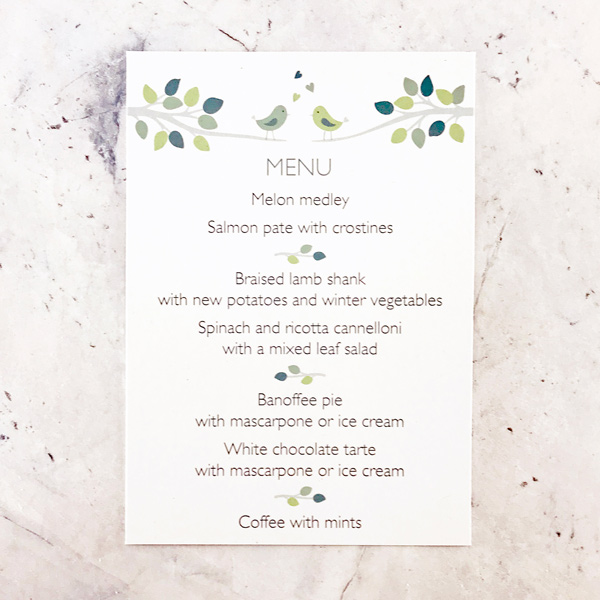 Bird Design Wedding Menu Card  The Leaf Press