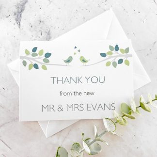 bird design wedding thank you card