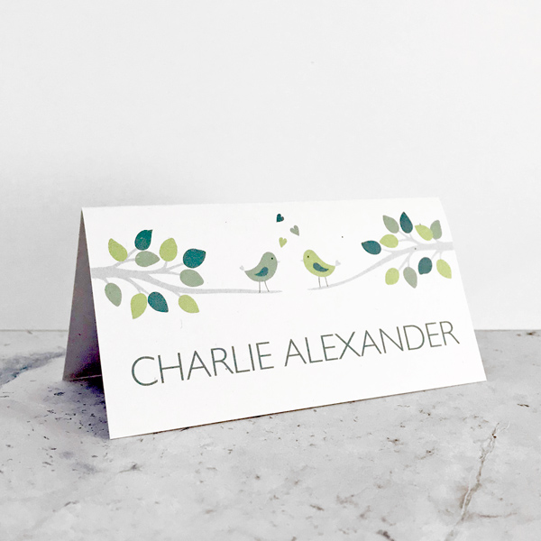 bird themed wedding reception place cards