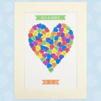 alternative wedding guest book picture hearts