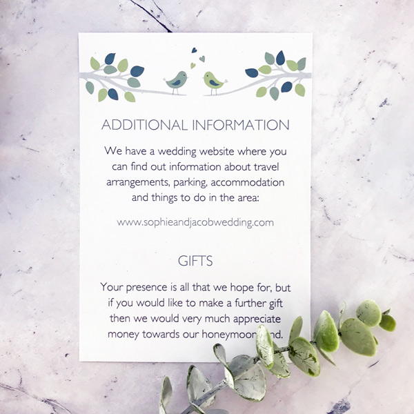 bird wedding information card