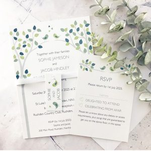 bird wedding invitation with rsvp