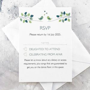 bird wedding invitations with rsvp