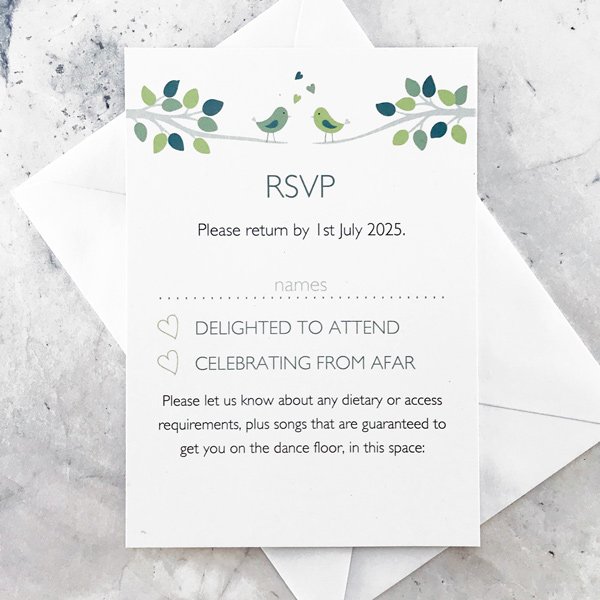 bird wedding invitations with rsvp
