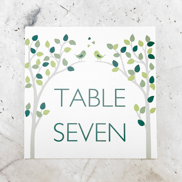 bird wedding table name or number