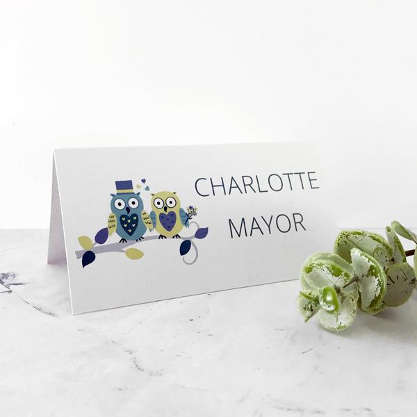 owl design wedding place names