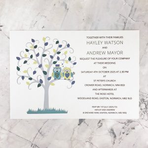 owl themed wedding invitations