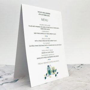 owl themed wedding reception menus