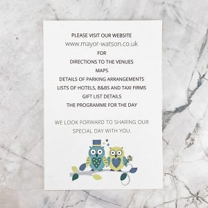 owl wedding information card
