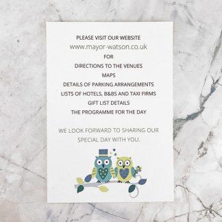 owl wedding information card