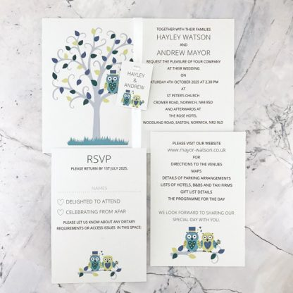 owl wedding invitation with rsvp