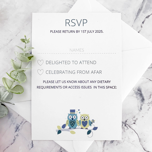 owl wedding invitations with rsvp