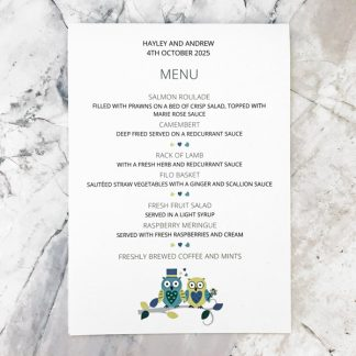 owl wedding menu card