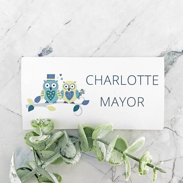 owl wedding place card