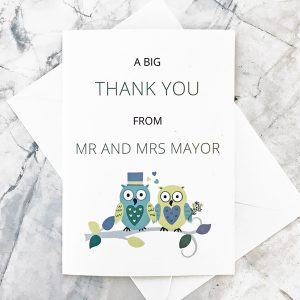 owl wedding thank you card