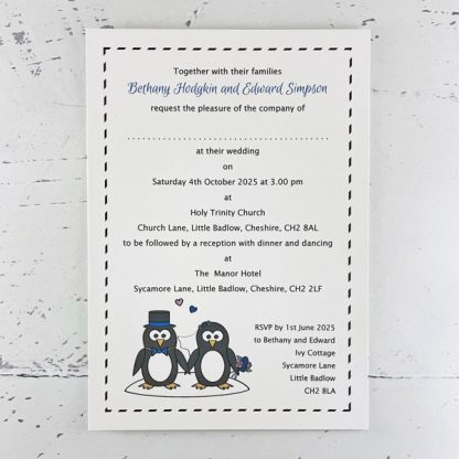 penguin design wedding invitations