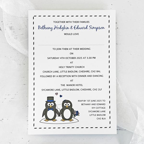 penguin design wedding invitations