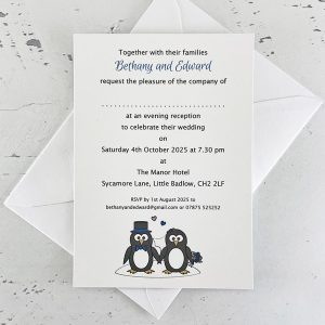 penguin evening wedding invitation
