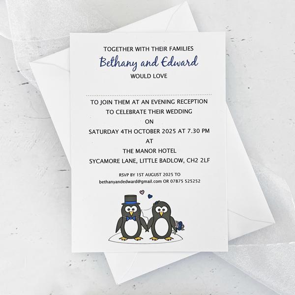 penguin evening wedding invitation